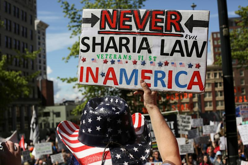 A protester at an anti-Sharia rally in Seattle, Washington