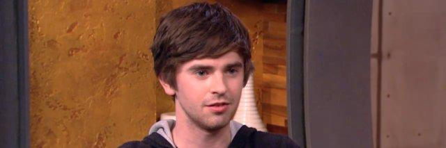 Screenshot of Freddie Highmore during interview with Peter Travers