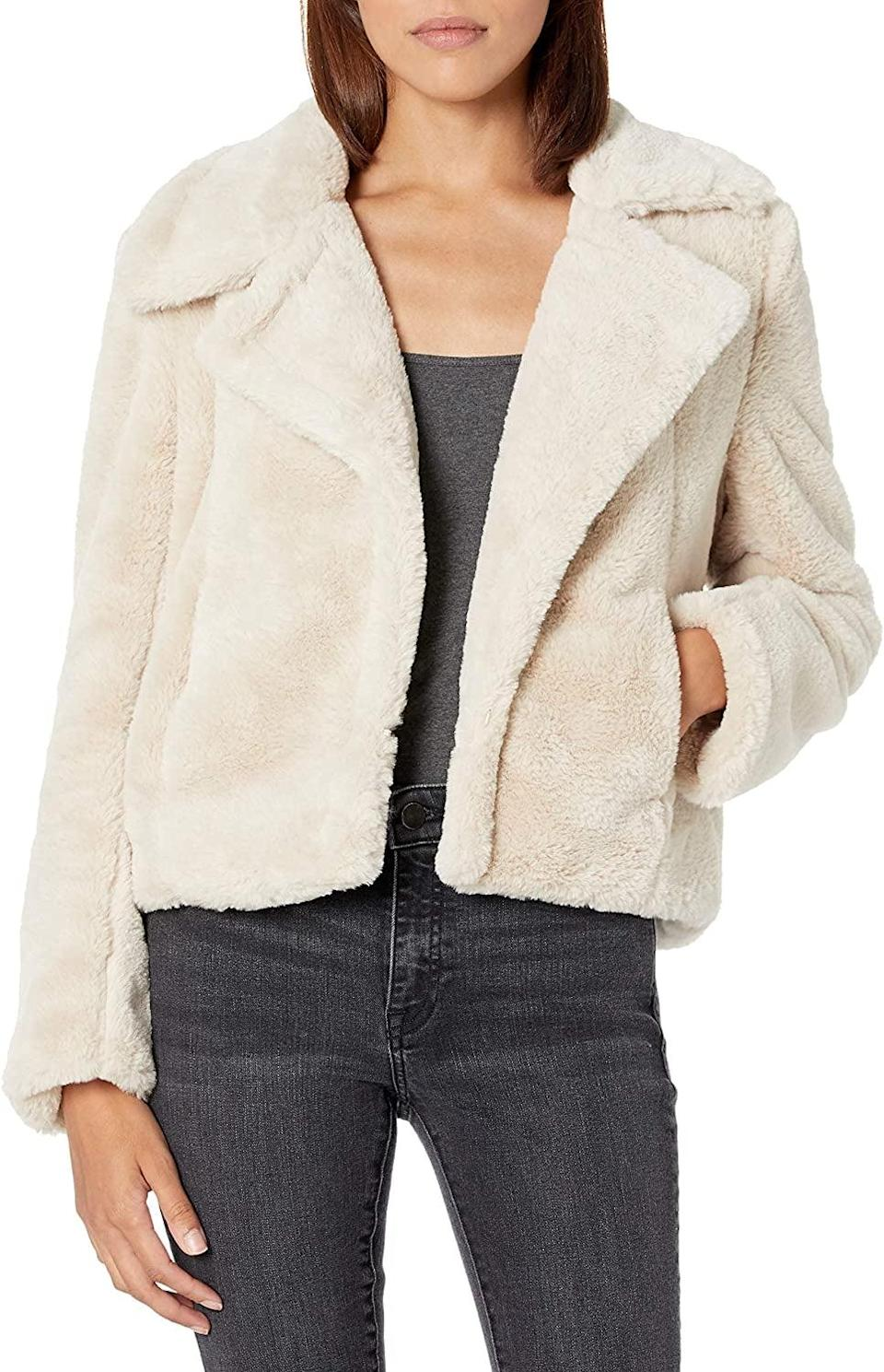<p>This <span>BlankNYC Faux Fur Jacket</span> ($89) is easy to mix and match with any outfit.</p>