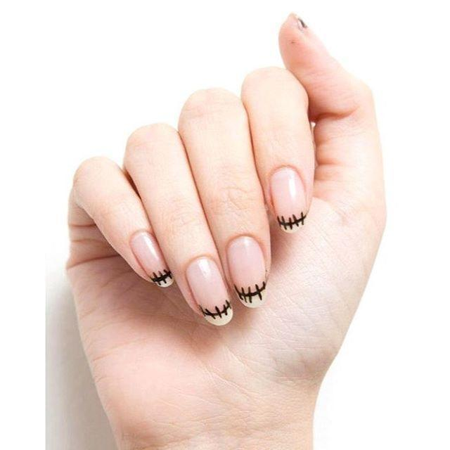 "<p>Want to be on theme without your hands looking in-your-face-level scary? Try these faux monster stitches on the tips of your nails. It's like a French mani, but make it Halloween. </p><p><a href=""https://www.instagram.com/p/BL_frUPDBEe/?utm_source=ig_embed&utm_campaign=loading"" rel=""nofollow noopener"" target=""_blank"" data-ylk=""slk:See the original post on Instagram"" class=""link rapid-noclick-resp"">See the original post on Instagram</a></p>"