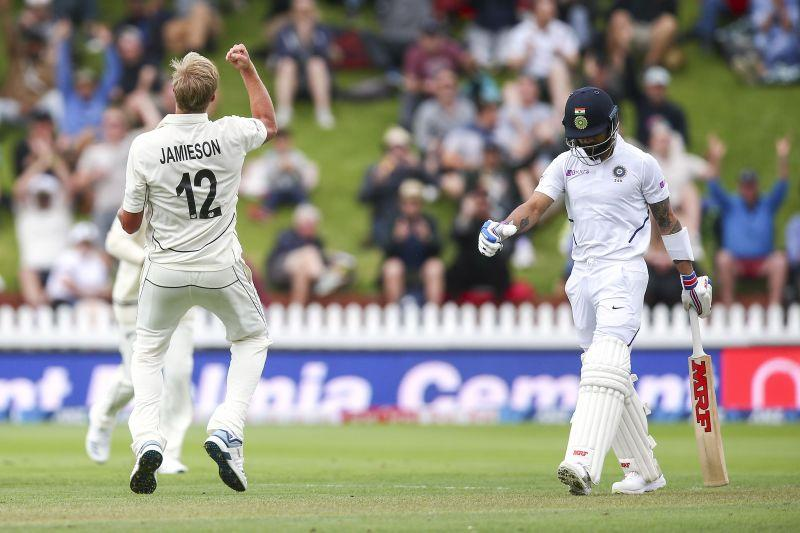 The debutant Jamieson celebrating Kohli's wicket - First Test.