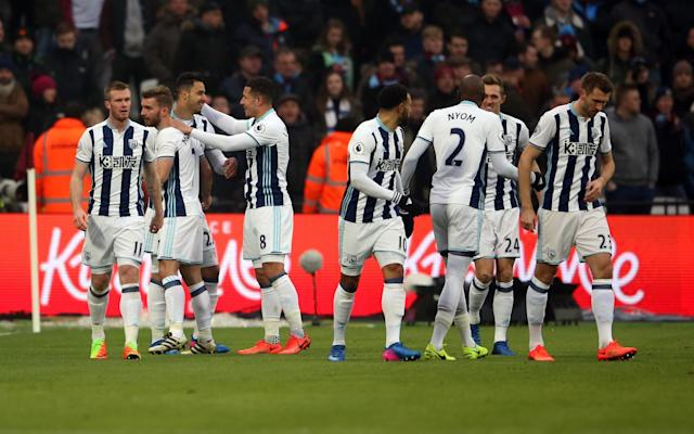 <p>West Brom celebrate going 1-0 up</p>