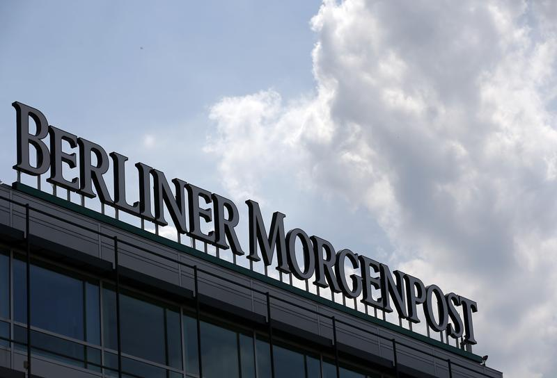 The logo of newspaper Berliner Morgenpost of German publisher Axel Springer is pictured on a roof of a building in Berlin