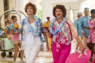 """This image released by Lionsgate shows Kristen Wiig, left, and Annie Mumolo in """"Barb and Star Go to Vista Del Mar."""" (Cate Cameron/Lionsgate via AP)"""