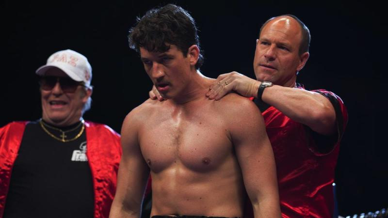 Ciarin Hinds, Miles Teller, and Aaron Eckhart in 'Bleed For This' - Credit: Icon