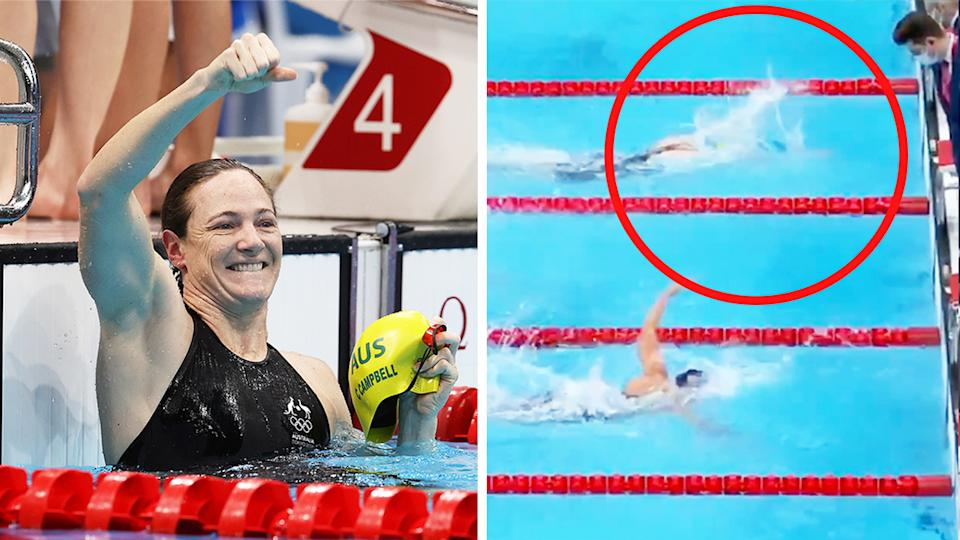 Cate Campbell (pictured left) celebrating after winning the women's 4x100 medley gold medal (pictured right.