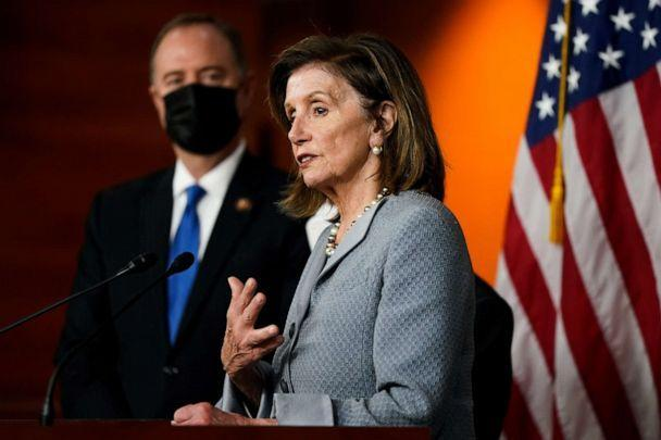 PHOTO: HHouse Speaker Nancy Pelosi speaks during a news conference about the Protecting Our Democracy Act on Capitol Hill in Washington, Sept. 21, 2021. (Elizabeth Frantz/Reuters)