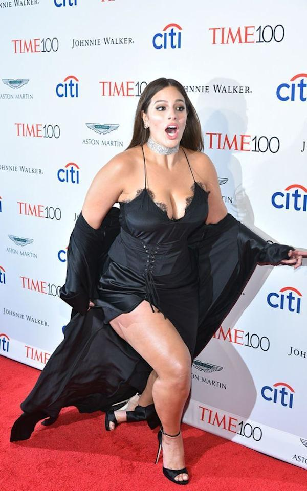 <p>A near-miss, but a supremely graceful one at that. While working the Time 100 Gala red carpet<span> Tuesday, the model's stiletto caught on her dress<span>, causing her to stumble. But a true professional, she recovered with a dazzling smile, then kept on like nothing had happened. </span></span></p>