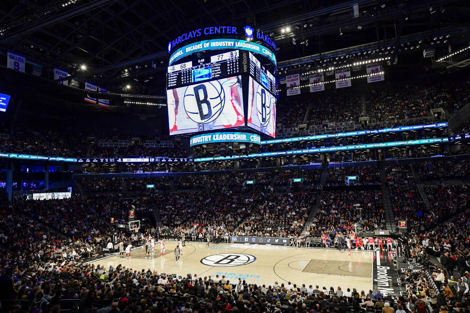 NEW YORK, NEW YORK - NOVEMBER 01:  A general view at Barclays Center during the game between the Brooklyn Nets and the Houston Rockets on November 01, 2019 in New York City. NOTE TO USER: User expressly acknowledges and agrees that, by downloading and/or using this photograph, user is consenting to the terms and conditions of the Getty Images License Agreement. (Photo by Steven Ryan/Getty Images)