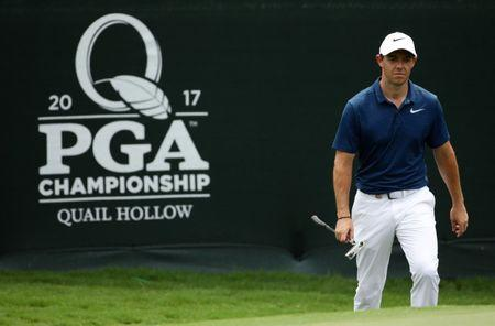 FILE PHOTO: Aug 13, 2017; Charlotte, NC, USA; Rory McIlroy walks onto the 12th green during the final round of the PGA Championship at Quail Hollow Club. Rob Schumacher-USA TODAY Sports