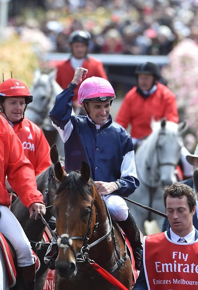 Corey Brown punches the air after winning the 157th Melbourne Cup on Rekindling (22) at Flemington Racecourse (AFP Photo/PAUL CROCK)