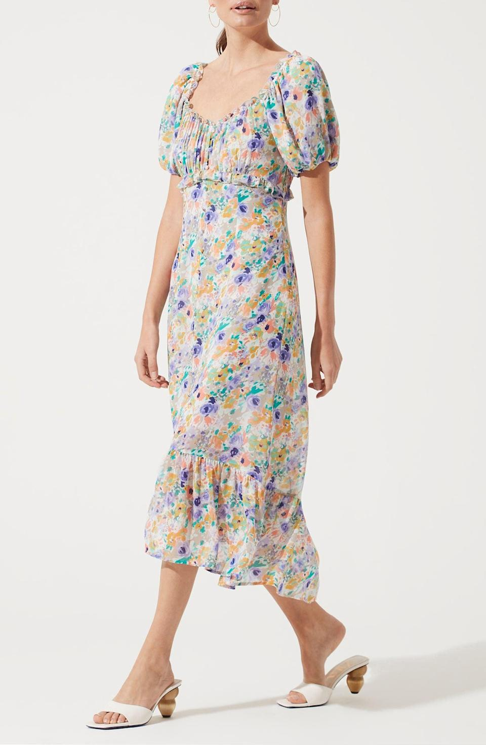 <p>This <span>ASTR the Label Balloon Sleeve Midi Dress</span> ($89) is ready for your next garden party.</p>