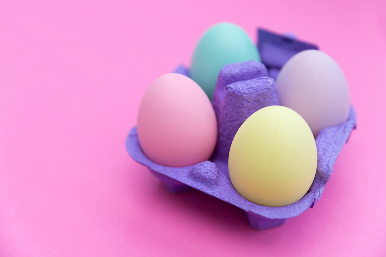 """There's no need to buy special kits for dyeing Easter eggs—all the ingredients you need are probably already in your cupboards. This recipe uses liquid food coloring, but you can also use paste. Experiment with combining different colors to produce new shades—for instance, 17 drops of yellow and 3 of red will produce a brilliant orange. <a href=""""https://www.epicurious.com/recipes/food/views/to-dye-easter-eggs-241824?mbid=synd_yahoo_rss"""">See recipe.</a>"""