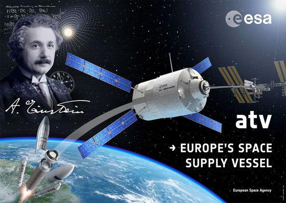 The European Space Agency's fourth and penultimate Automated Transfer Vehicle (ATV-4) was named for the theoretical physicist Albert Einstein. The cargo craft launched on June 5, 2013.