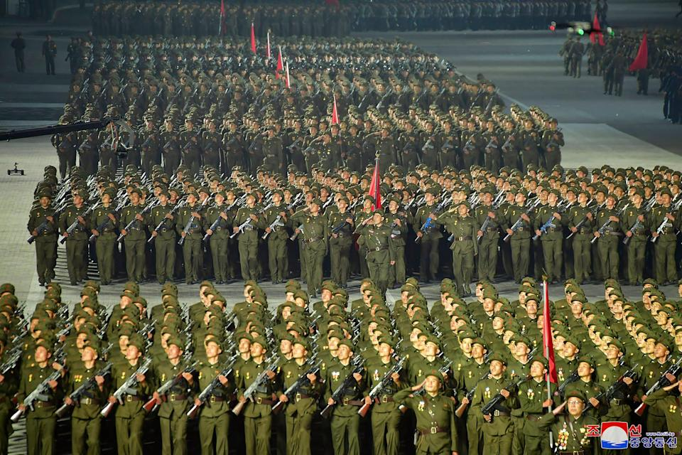 North Korean soldiers during the parade.