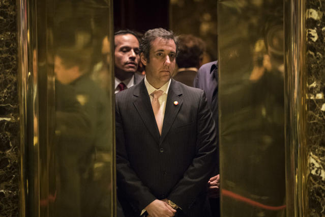 Michael Cohen, personal lawyer for then-President-elect Trump, gets into an elevator at Trump Tower, Dec. 12, 2016, in New York City. (Photo: Drew Angerer/Getty Images)