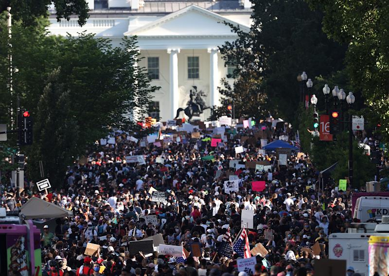 Demonstrators gather on newly coined 'Black Lives Plaza' in Washington, DC. Source: Getty Images