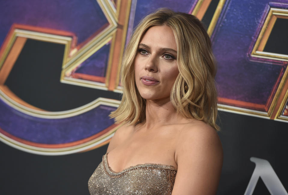 "Scarlett Johansson arrives at the premiere of ""Avengers: Endgame"" at the Los Angeles Convention Center on Monday, April 22, 2019. (Photo by Jordan Strauss/Invision/AP)"