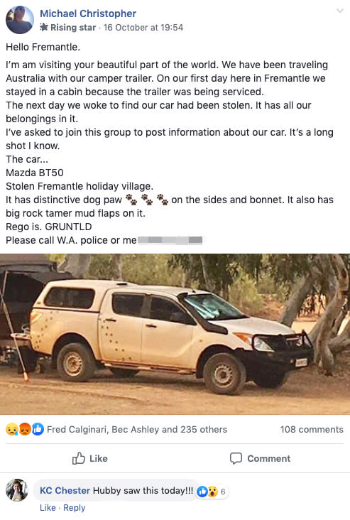 The post Michael Christopher put in the Freo Massive Facebook to help him find his stolen car