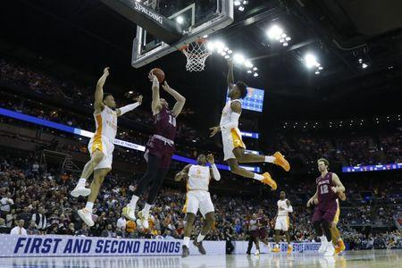 Mar 22, 2019; Columbus, OH, USA; Colgate Raiders forward Will Rayman (10) goes to the basket in the second half against the Tennessee Volunteers in the first round of the 2019 NCAA Tournament at Nationwide Arena. Mandatory Credit: Rick Osentoski-USA TODAY Sports