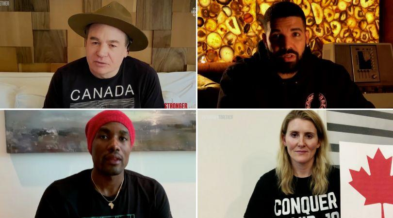 "Clockwise from top left: Mike Myers, Drake, Hayley Wickenheiser and Serge Ibaka at Sunday night's ""Stronger Together"" show, Apr. 26, 2020. (Photo: Stronger Together)"