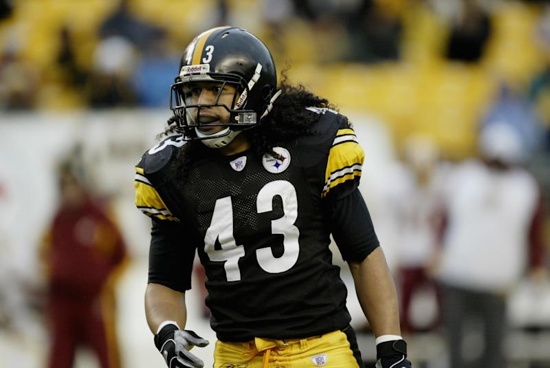 Safety Troy Polamalu #43 of the Pittsburgh Steelers