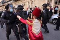 Israeli police patrol the streets during the Jewish holiday of Purim in Jerusalem