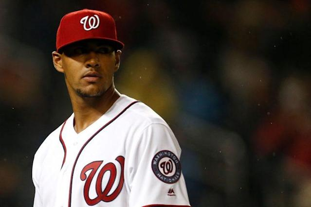 "<a class=""link rapid-noclick-resp"" href=""/mlb/players/9987/"" data-ylk=""slk:Joe Ross"">Joe Ross</a> pitched eight strong innings in his return to Washington's rotation. (Photo by Matt Hazlett/Getty Images)"