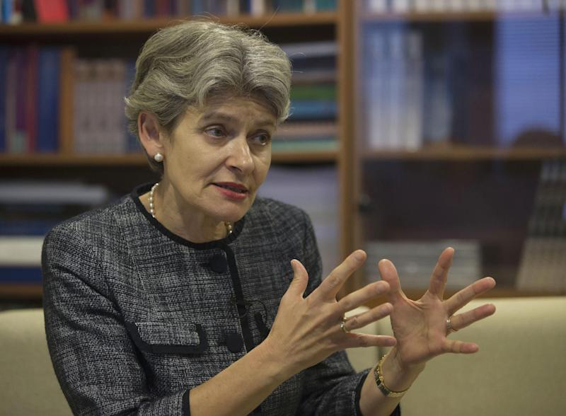 UNESCO Director-General Irina Bokova answers questions during an interview with the Associated Press at the UNESCO headquarters in Paris, France Wednesday, Nov. 6, 2013. American influence in culture, science and education around the world will take a high-profile blow on Friday as the US is stripped of its vote at the world's premier cultural agency, UNESCO following Washington's decision in 2011 to cut all funding to the U.N. agency over the vote giving Palestine member-state status. (AP Photo/Michel Euler)
