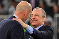 Real Madrid president Florentino Perez, seen here with coach Zinedine Zidane, was named as the Super League's first chairman