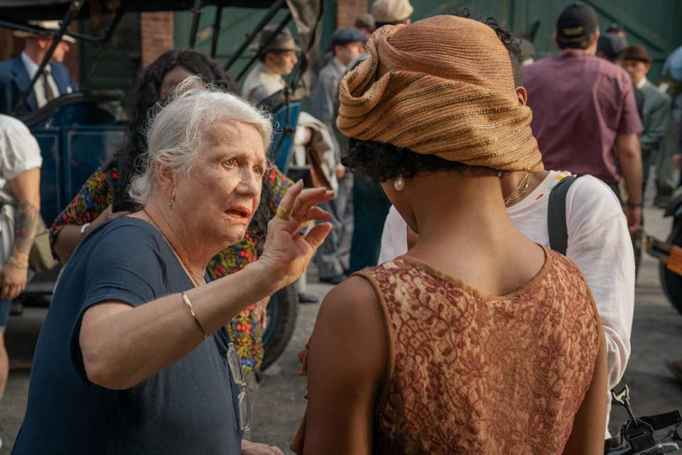 Costume designer Ann Roth and Taylour Paige on the set of