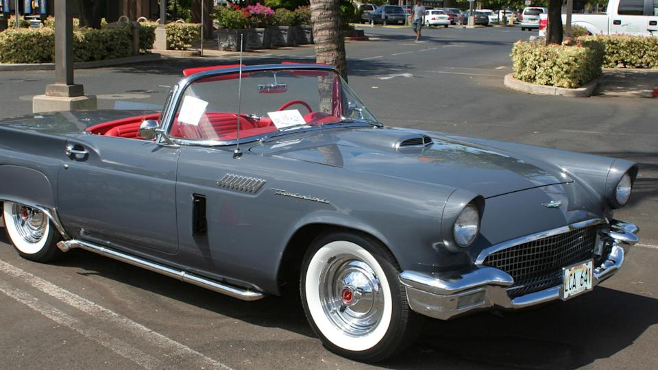 """<p>Fun fact: The first Thunderbird that was ever produced was found by car buff George Watts in 1965. Its status was verified by Ford that same year, and after a meticulous restoration to get the vehicle back to its """"original"""" state, the car appeared in 1968 and garnered public attention from its appearance in special events such as the 1984 Olympics. This same car sold for $660,000 at a 2009 auction in Scottsdale.</p> <p>With its iconic cherry red finish, the average Thunderbird generally sells for around $38,500.</p>"""