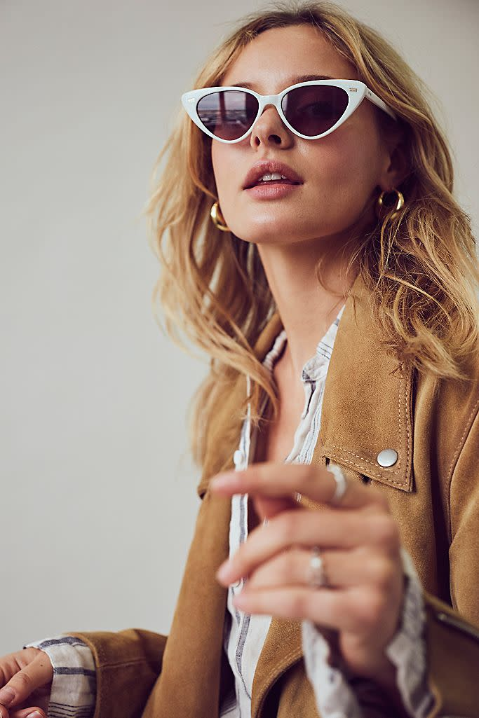 """$20, Free People. <a href=""""https://www.freepeople.com/shop/olympic-cat-eye-sunglasses/?color=012&type=REGULAR&size=One%20Size&quantity=1"""" rel=""""nofollow noopener"""" target=""""_blank"""" data-ylk=""""slk:Get it now!"""" class=""""link rapid-noclick-resp"""">Get it now!</a>"""