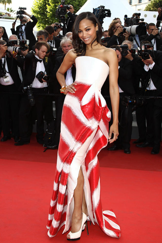 """Zoe Saldana's Armani Prive red-and-white strapless gown was a peppermint treat at the Cannes Film Festival premiere of """"Tree of Life"""" on May 16, 2011."""