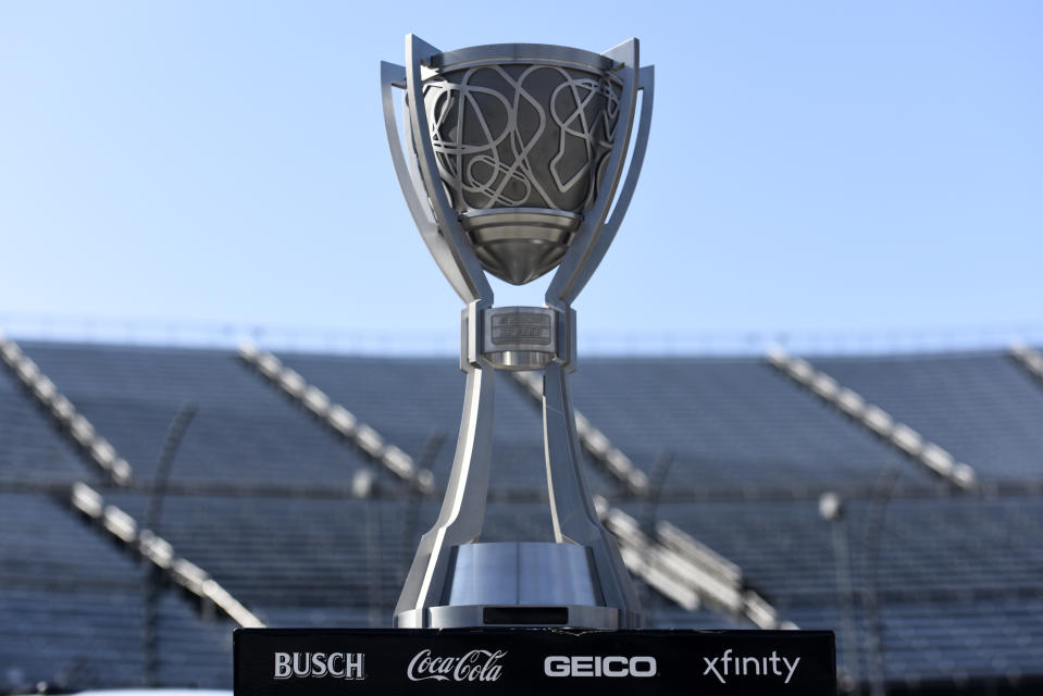 MARTINSVILLE, VIRGINIA - NOVEMBER 01:  A detail of the NASCAR Cup Series trophy on the grid prior to the NASCAR Cup Series Xfinity 500 at Martinsville Speedway on November 01, 2020 in Martinsville, Virginia. (Photo by Jared C. Tilton/Getty Images)