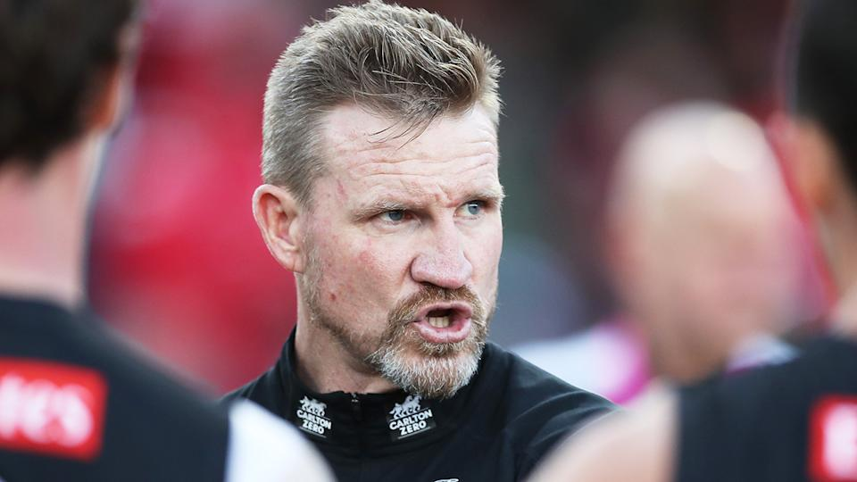Nathan Buckley has been under significant pressure amid a poor start to the season from Collingwood. (Photo by Matt King/AFL Photos/via Getty Images)
