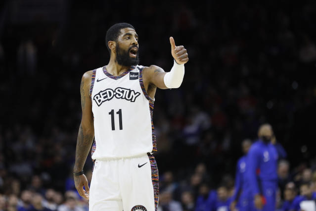 "Days after saying the Nets have ""glaring"" needs to fill, Kyrie Irving defended his comments and his leadership style in Brooklyn. (AP/Matt Slocum)"