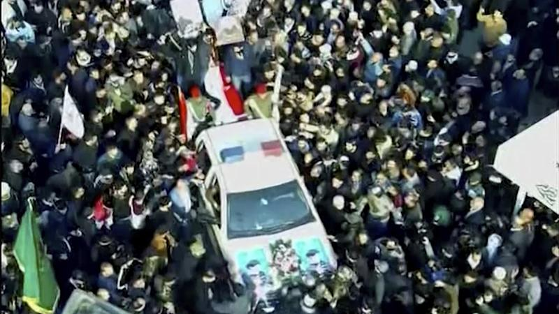 Mourners gathered in Baghdad for a funeral procession for Iran's General Qassem Soleimani