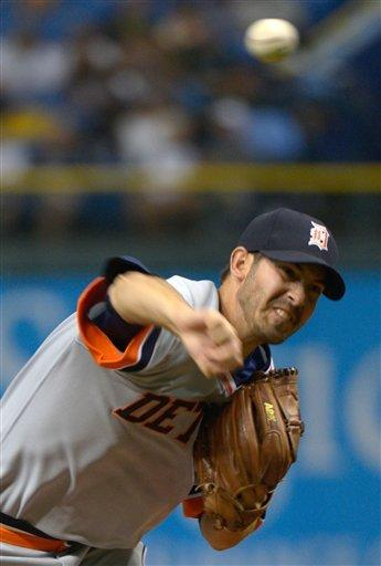 Detroit Tigers starting pitcher Rick Porcello throws to home plate during the first inning of a baseball game against the Tampa Bay Rays in St. Petersburg, Fla., Saturday, June 30, 2012.(AP Photo/Phelan M. Ebenhack)