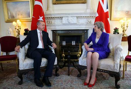 Turkish President Tayyip Erdogan meets with Britain's Prime Minister Theresa May at 10 Downing Street in London, Britain May 15, 2018. Kayhan Ozer/Presidential Palace/Handout via REUTERS