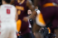 Iona head coach Rick Pitino watches his team in the first half of an NCAA college basketball game against Fairfield during the finals of the Metro Atlantic Athletic Conference tournament, Saturday, March 13, 2021, in Atlantic City, N.J. (AP Photo/Matt Slocum)