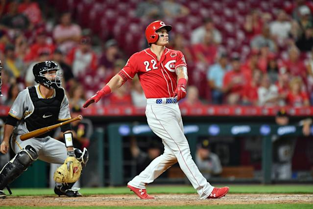 Derek Dietrich drew the ire of a Pittsburgh Pirates broadcaster for watching home runs. (Photo by Jamie Sabau/Getty Images)