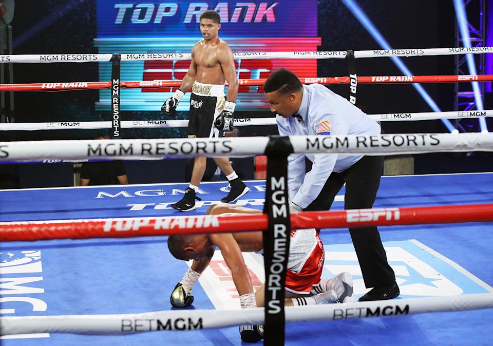 Shakur Stevenson watches after knocking down Felix Caraballo during their main event fight on June 9, 2020 at the MGM Grand in Las Vegas. (Mikey Williams/Top Rank)