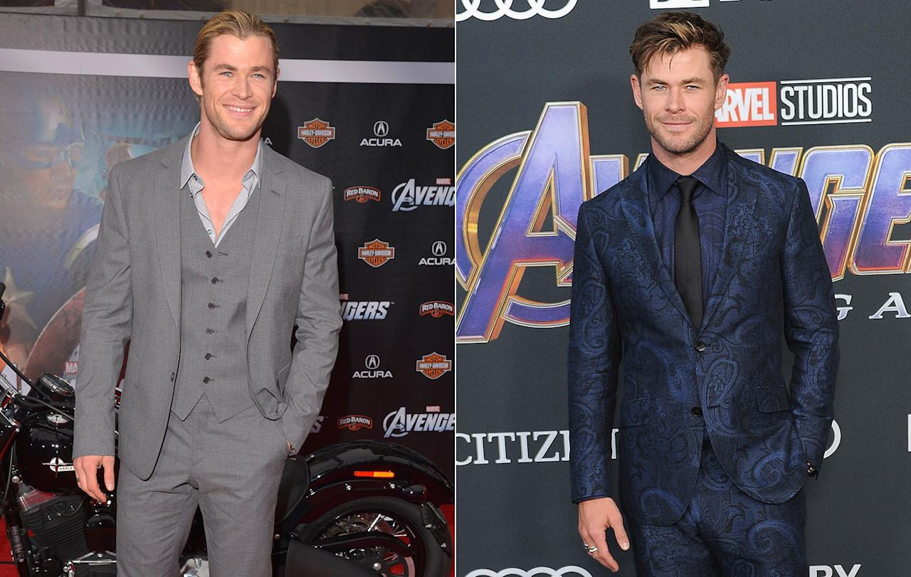 "<p>Thor blimey, talk about a glow up. Chris Hemsworth has come a long way in the last seven years. He recently <a rel=""nofollow"" href=""https://uk.movies.yahoo.com/chris-hemsworth-exhausted-underwhelmed-thor-ragnarok-exclusive-123201006.html"">admitted being ""exhausted"" by his Marvel character</a> before he was rebooted for <em>Thor: Ragnarok</em>. (Getty Images) </p>"