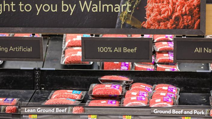 Las Vegas, NV, USA 11/5/2019 — A half empty shelf of ground beef at a midnight Walmart Supercenter store in Southern Nevada.