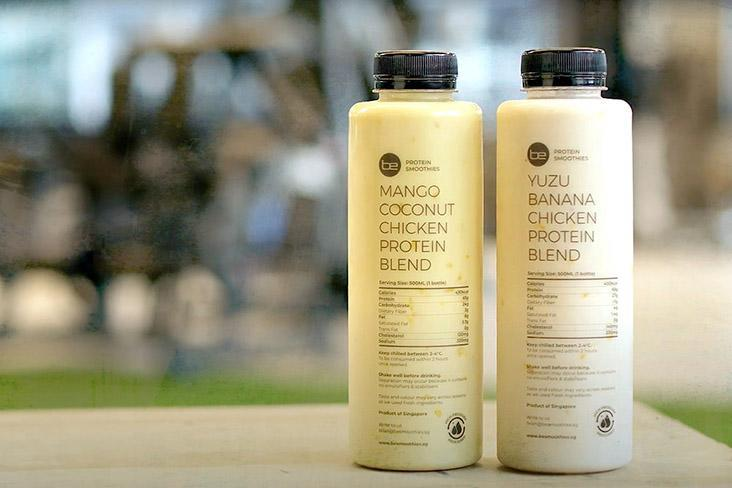 BE Protein Smoothies' chicken protein blend comes in two flavours: Mango Coconut and Yuzu Banana. — Pictures courtesy of BE Protein Smoothies