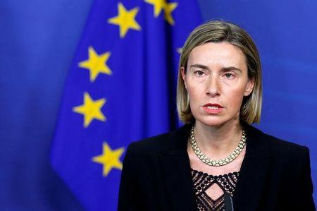 EU foreign policy chief Mogherini addresses a joint news conference at the EU Commission headquarters in Brussels
