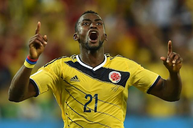 Colombia forward Jackson Martinez celebrates after scoring against Japan in Cuiaba, Brazil, at the 2014 World Cup (AFP Photo/Toshifumi Kitamura)