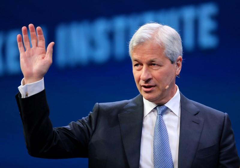 Jamie Dimon, Chairman and CEO of JPMorgan Chase & Co. speaks during the Milken Institute Global Conference in Beverly Hills, California
