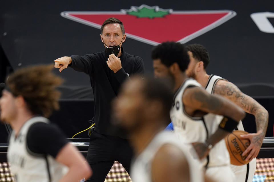 Brooklyn Nets head coach Steve Nash calls a play during the second half of an NBA basketball game against the Toronto Raptors Tuesday, April 27, 2021, in Tampa, Fla. (AP Photo/Chris O'Meara)